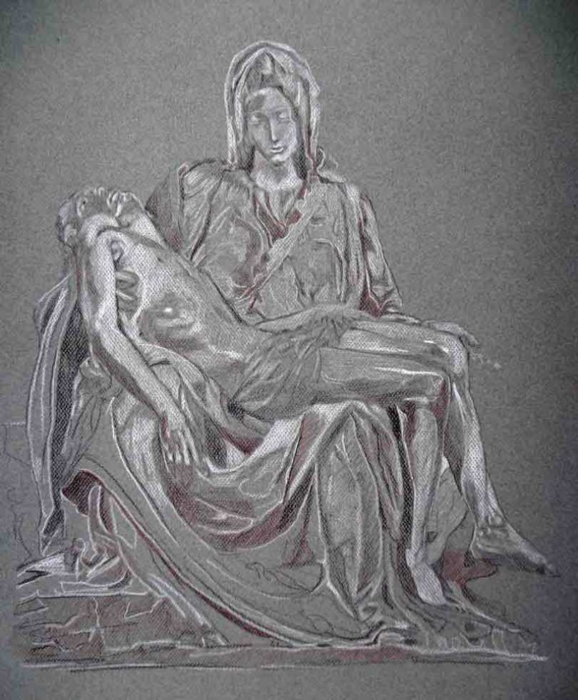 image de portrait au crayon blanc, pierre noire et sépia