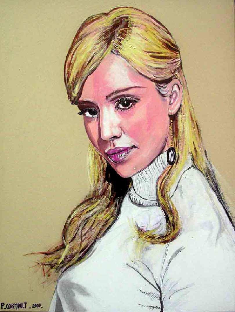 image de portrait de célébrité à la peinture acrylique
