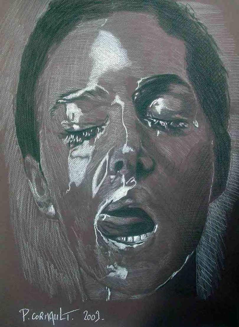 image de portrait de célébrité à la pierre noire et au crayon blanc