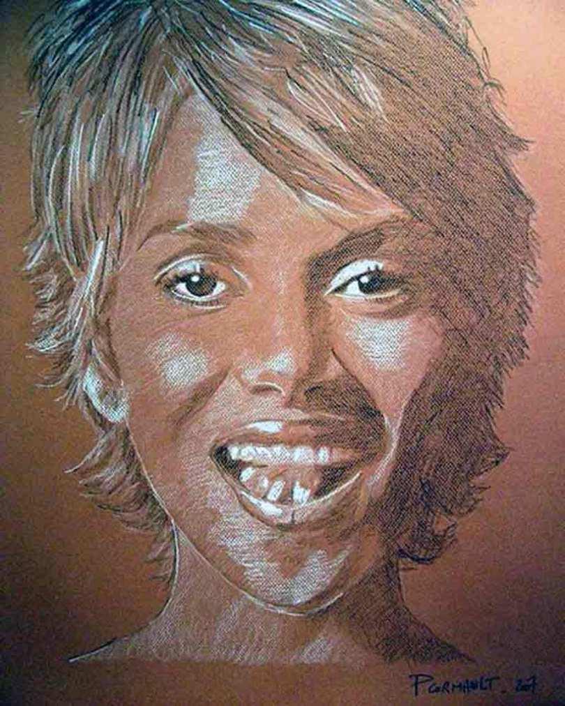 image de célébrité au crayon pierre noire et craie blanche
