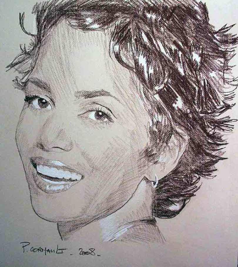 image de célébrité à la sépia et crayon blanc