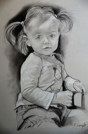 image de portrait de jeune femme au fusain
