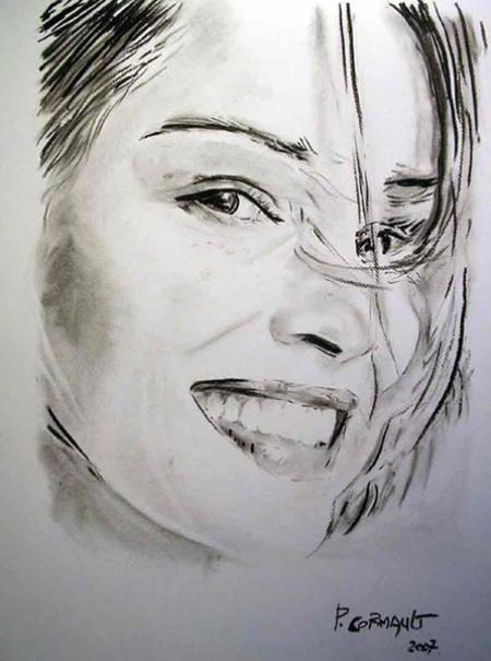 image de portrait de célébrité au fusain