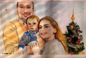 image de portrait de famille à l'aquarelle