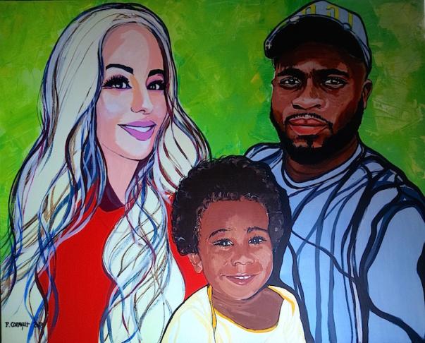 image de portrait de famille à la peinture acrylique
