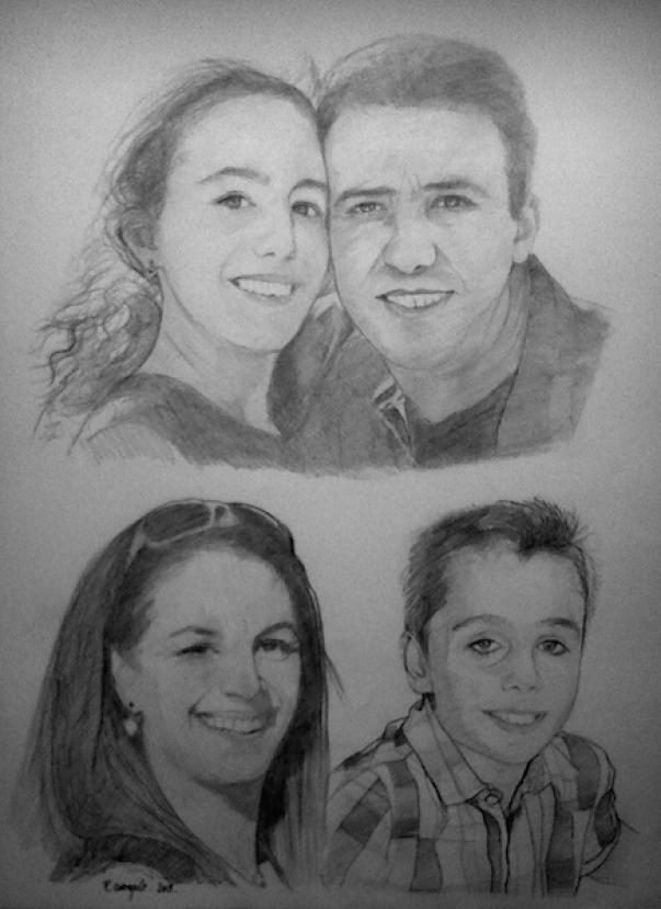 image de portrait de famille au crayon