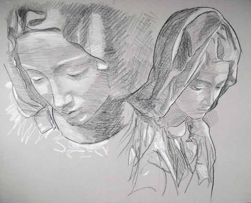 image de portrait au crayon pierre noire et craie blanche