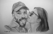 image de portrait de couple au crayon