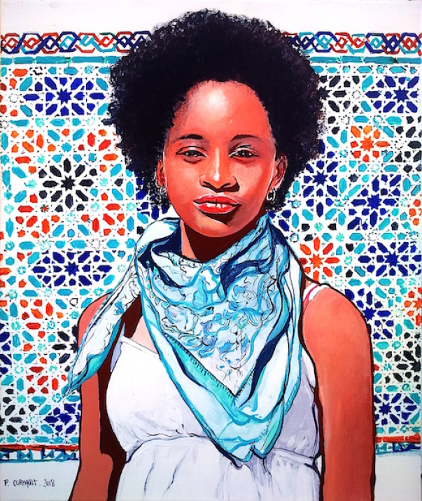 image de portrait individuel à la peinture acrylique