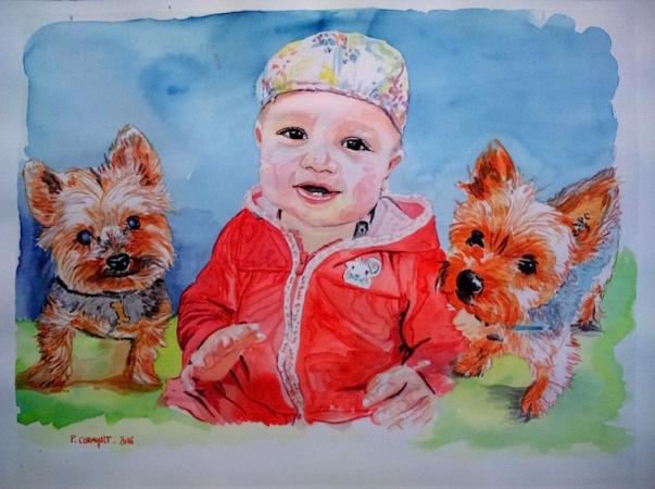 portrait d'enfant à l'aquarelle