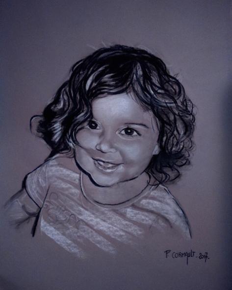 image de portrait au fusain