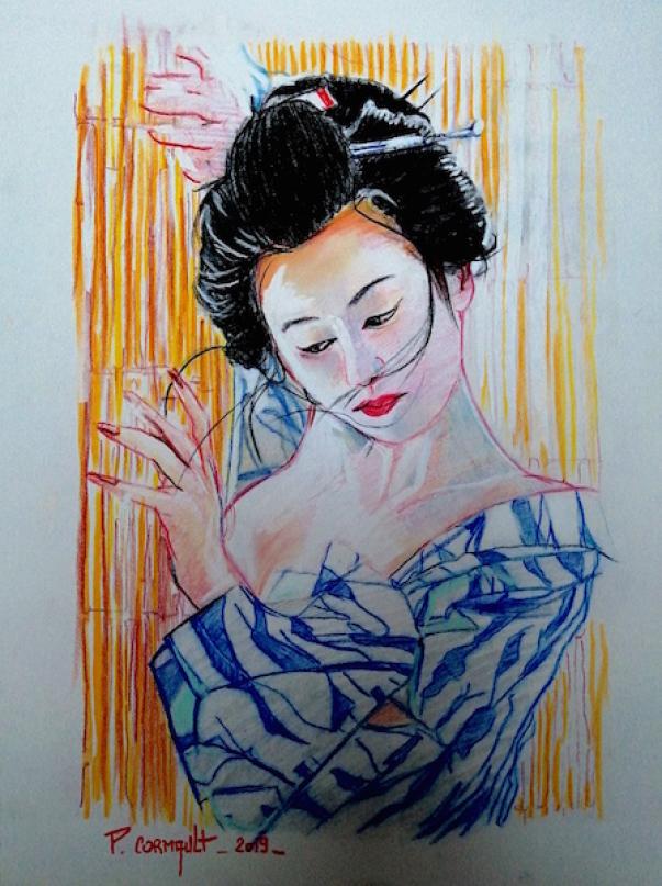 image de portrait aux pastels secs