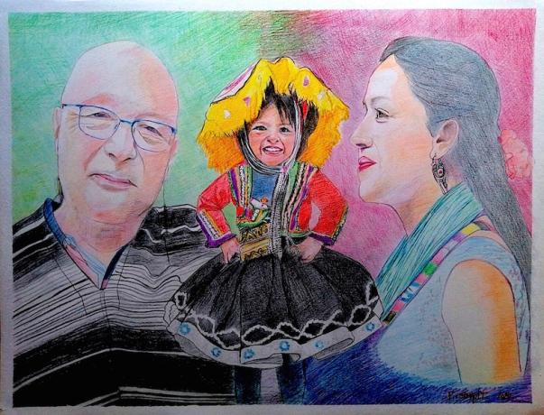 image de portrait aux crayons de couleurs