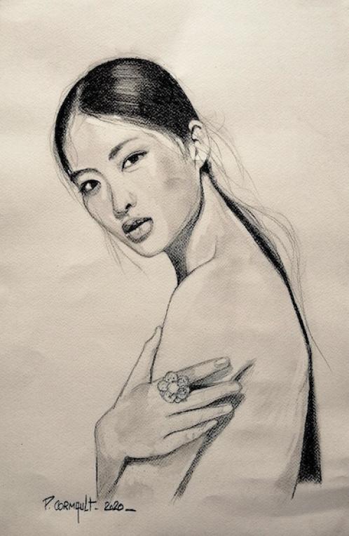 image de portrait individuel au crayon