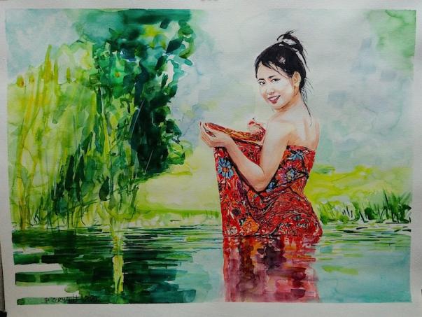 image de portrait à l'aquarelle