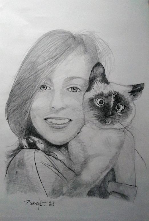 image de portrait animalier au crayon