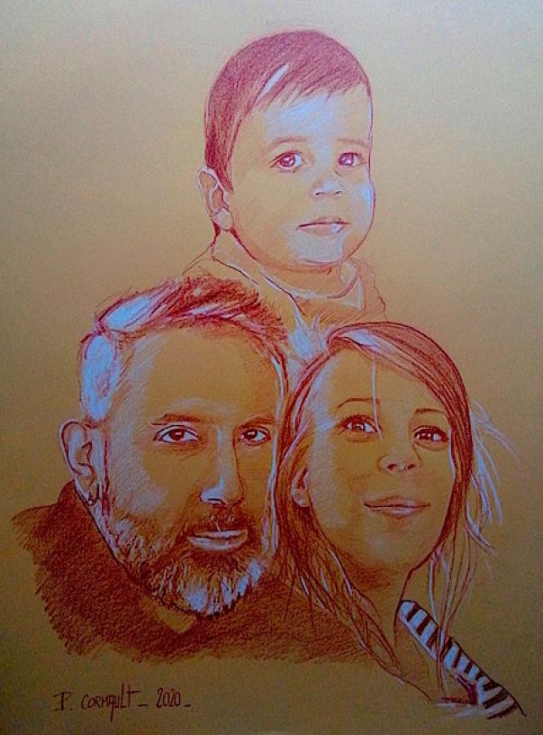 image de portrait de famille à la sanguine