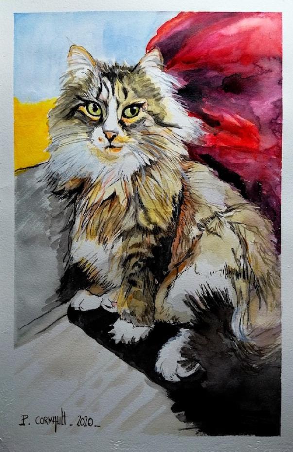 image de portrait d'animal à l'aquarelle