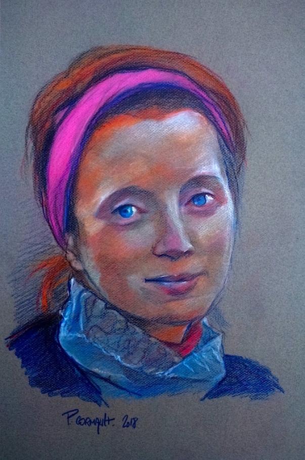 image de portrait aux crayons pastels