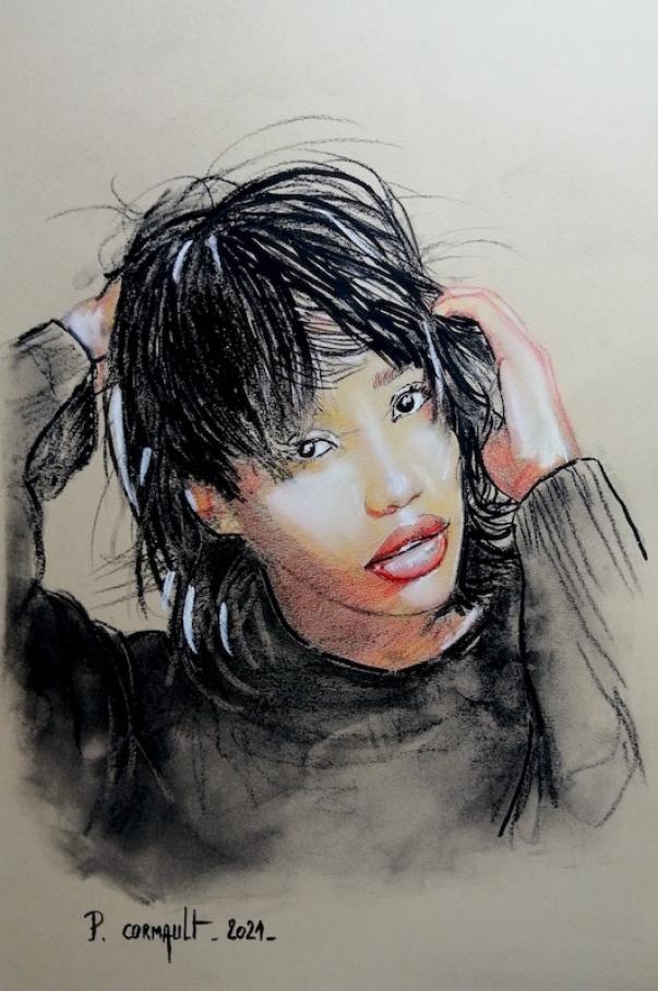image de portrait au fusain et crayons de couleurs