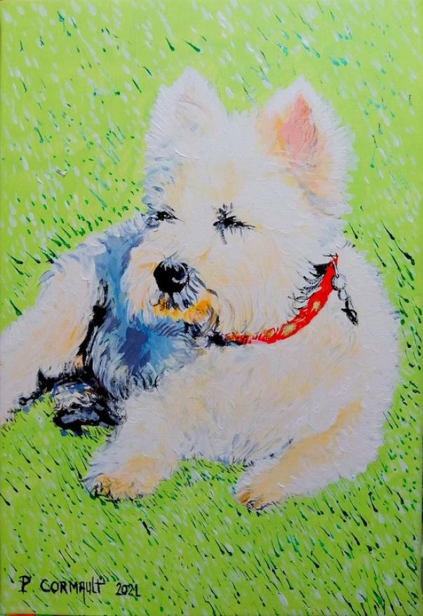 image de portrait d'animal à la peinture acrylique