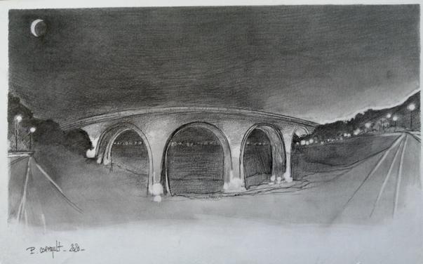 image de paysage au crayon