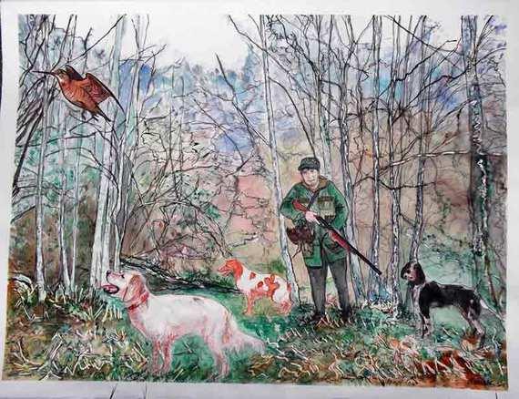 image de scèene de chasse à l'aquarelle