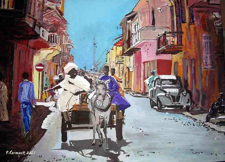 image du Sénégal à la peinture acrylique